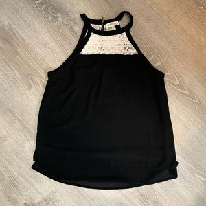 Monteau black and white lace tank